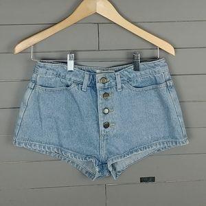 American Apparel Button fly High waist Jean Shorts